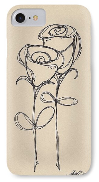 Doodle Roses IPhone Case