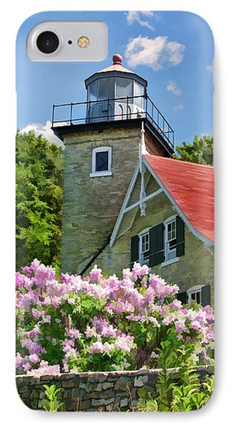 Door County Eagle Bluff Lighthouse Lilacs IPhone Case