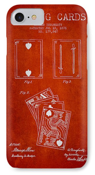 Dougherty Playing Cards Patent Drawing From 1876 - Red IPhone Case