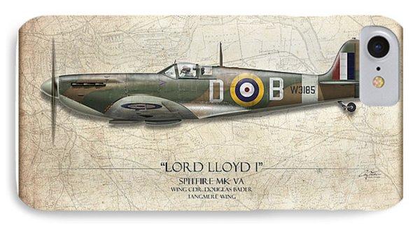 Douglas Bader Spitfire - Map Background IPhone Case
