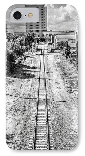 Down The Tracks - Downtown Miami - Black And White IPhone Case