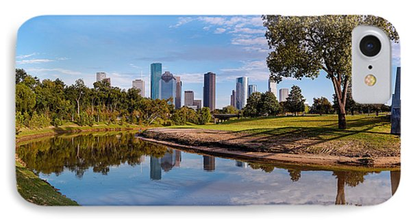 Downtown Houston Panorama From Buffalo Bayou Park IPhone Case