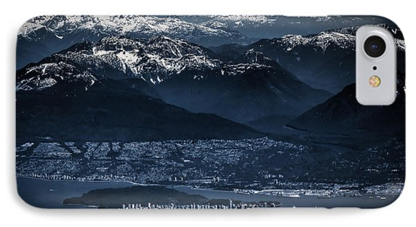 Downtown Vancouver And The Mountains Aerial View Low Key IPhone Case