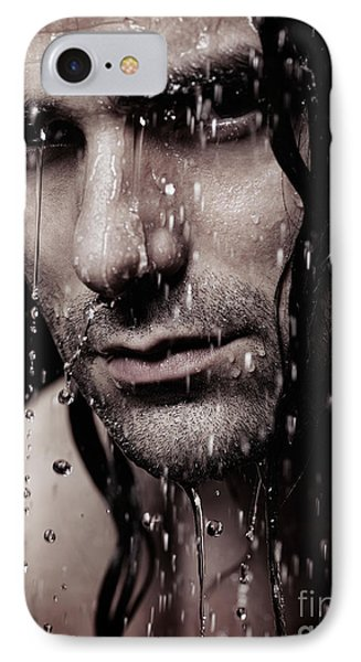Dramatic Portrait Of Young Man Wet Face With Long Hair IPhone Case