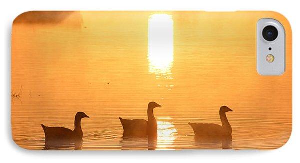 Ducks On A Foggy Lake At Sunrise IPhone Case