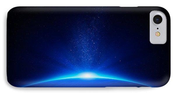 Beach iPhone 8 Case - Earth Sunrise In Space by Johan Swanepoel
