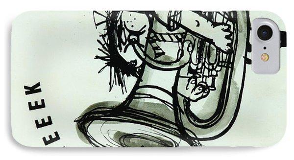 Trombone iPhone 8 Case - Eeeeeeek! Ink On Paper by Brenda Brin Booker