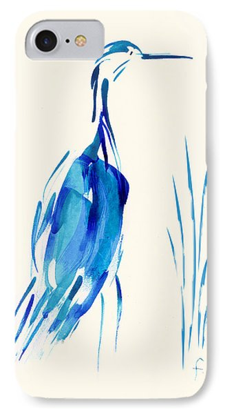 Egret In Blue Mixed Media IPhone Case
