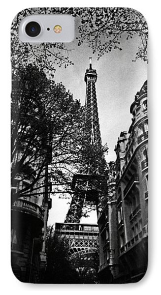 French iPhone 8 Case - Eiffel Tower Black And White by Andrew Fare