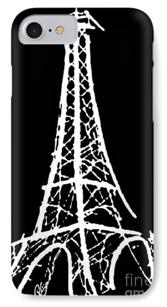Eiffel Tower Paris France White On Black IPhone Case