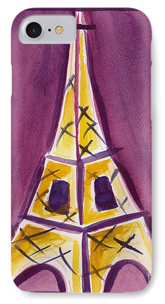 Eiffel Tower Purple And Yellow IPhone Case