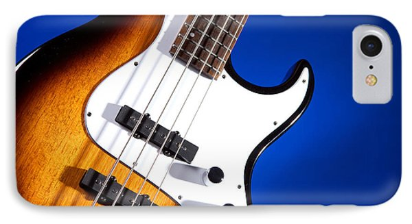 Electric Bass Guitar Photograph On Blue 3322.02 IPhone Case