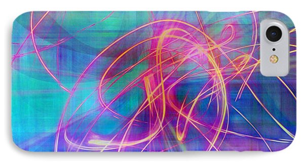 Electric Neon Swirls Of Light Abstract IPhone Case