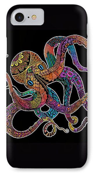 Electric Octopus On Black IPhone Case