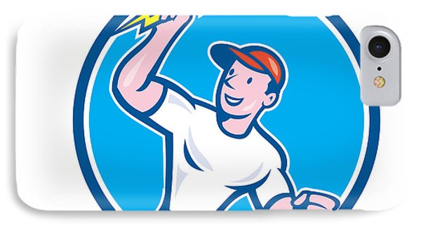 Electrician Holding Lightning Bolt Circle Cartoon IPhone Case