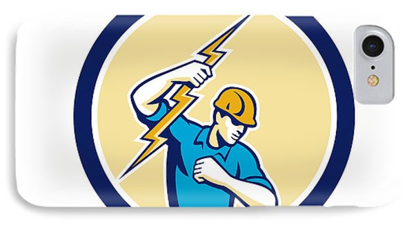 Electrician Holding Lightning Bolt Side Circle IPhone Case