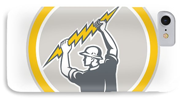 Electrician Holding Lightning Bolt Side Retro IPhone Case