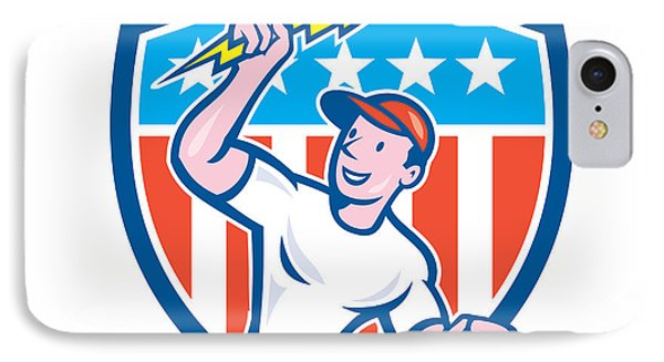 Electrician Lightning Bolt Usa Flag Cartoon IPhone Case