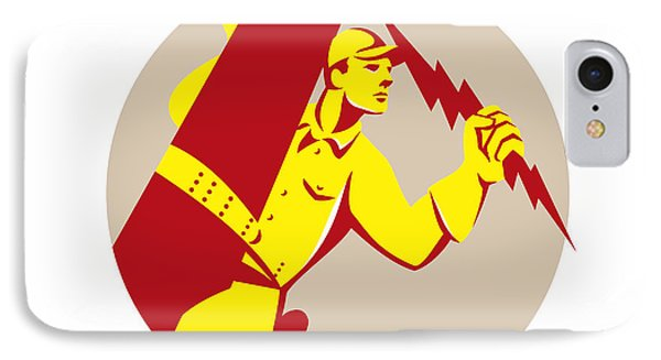 Electrician Power Lineman Telephone Repairman Retro IPhone Case