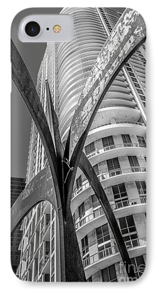 Element Of Duenos Do Los Estrellas Statue With Miami Downtown In Background - Black And White IPhone Case