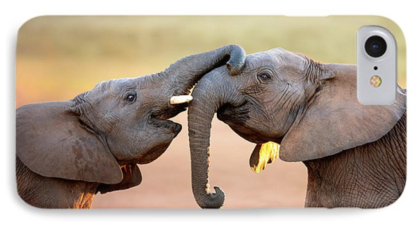 Africa iPhone 8 Case - Elephants Touching Each Other by Johan Swanepoel