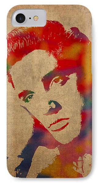Portraits iPhone 8 Case - Elvis Presley Watercolor Portrait On Worn Distressed Canvas by Design Turnpike