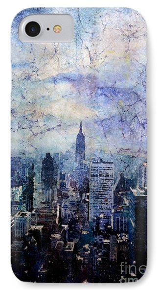 Empire State Building In Blue IPhone Case