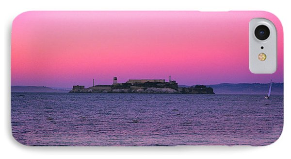 Escape From Alcatraz Under A Pink Sunset In A Sailboat IPhone Case