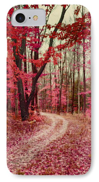 Ethereal Forest Path With Red Fall Colors IPhone Case