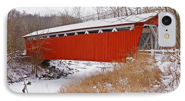 Everett Rd. Covered Bridge In Winter IPhone Case