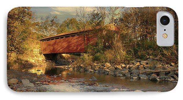 Everett Rd Summit County Ohio Covered Bridge Fall IPhone Case