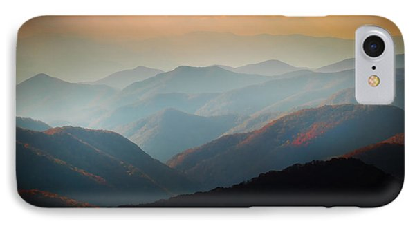 Fall Foliage Ridgelines Great Smoky Mountains Painted  IPhone Case