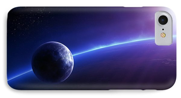 Fantasy Earth And Moon With Colourful  Sunrise IPhone Case