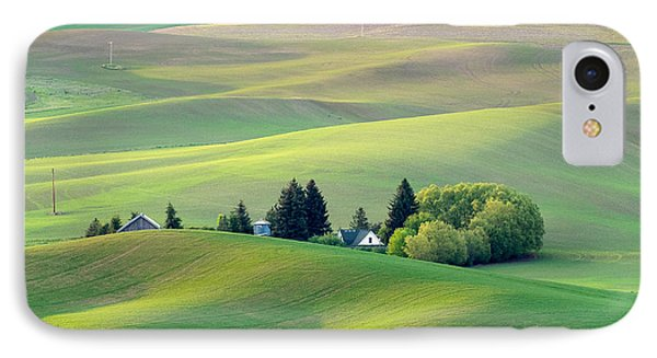 Farm Buildings Nestled In The Palouse Country IPhone Case