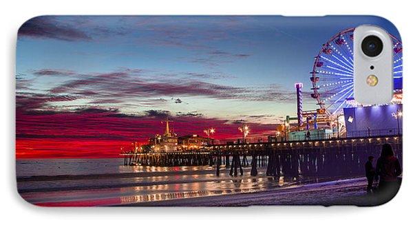 Ferris Wheel On The Santa Monica California Pier At Sunset Fine Art Photography Print IPhone Case