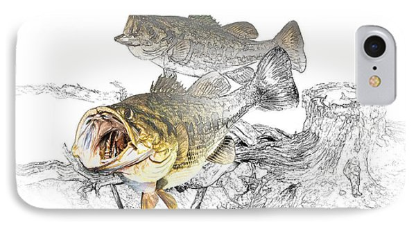 Feeding Largemouth Black Bass IPhone Case
