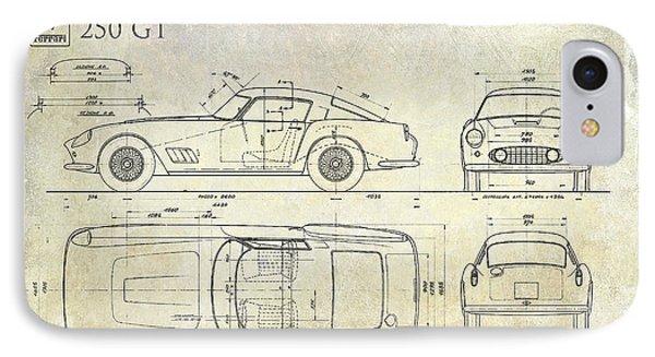 Car blueprint iphone 8 cases fine art america car blueprint iphone 8 case ferrari 250 gt blueprint antique by jon neidert malvernweather Images