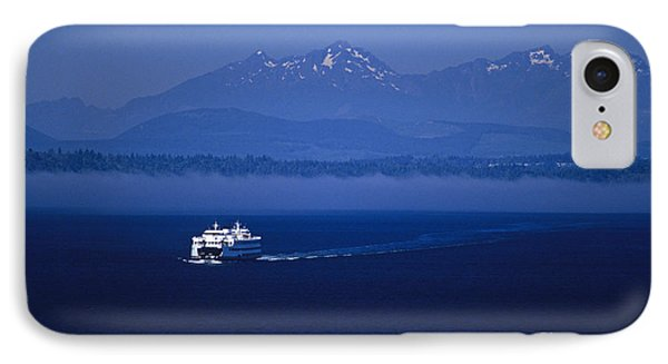 Ferry Boat In Puget Sound With Olympic Mountains IPhone Case