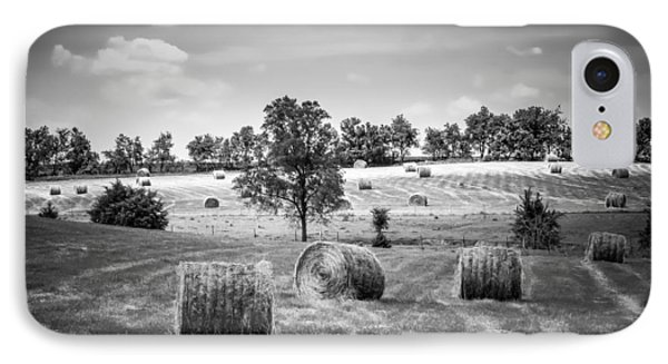 Field Of Hay In Black And White IPhone Case