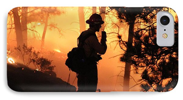 Firefighter At Night On The White Draw Fire IPhone Case