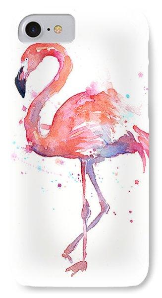 Print iPhone 8 Case - Flamingo Watercolor by Olga Shvartsur