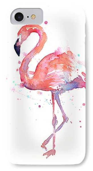 Portraits iPhone 8 Case - Flamingo Watercolor by Olga Shvartsur