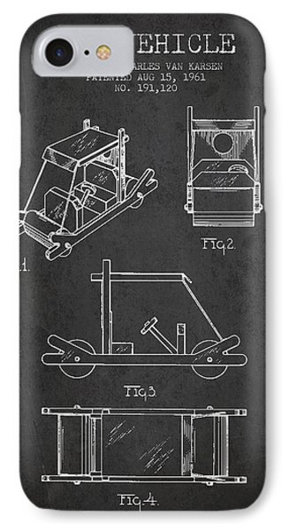 Flintstones Toy Vehicle Patent From 1961 - Charcoal IPhone Case