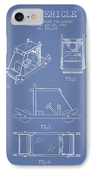 Flintstones Toy Vehicle Patent From 1961 - Light Blue IPhone Case