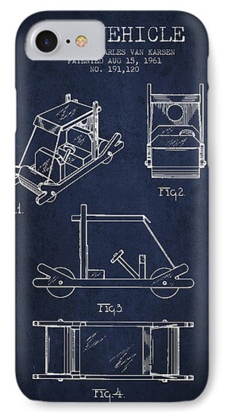 Flintstones Toy Vehicle Patent From 1961 - Navy Blue IPhone Case