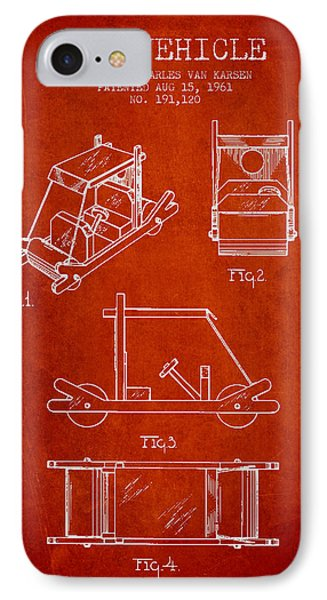 Flintstones Toy Vehicle Patent From 1961 - Red IPhone Case
