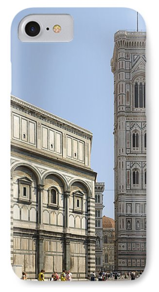 Florence Bell Tower And Duomo Piazza IPhone Case
