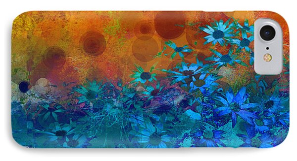 Flower Fantasy In Blue And Orange  IPhone Case