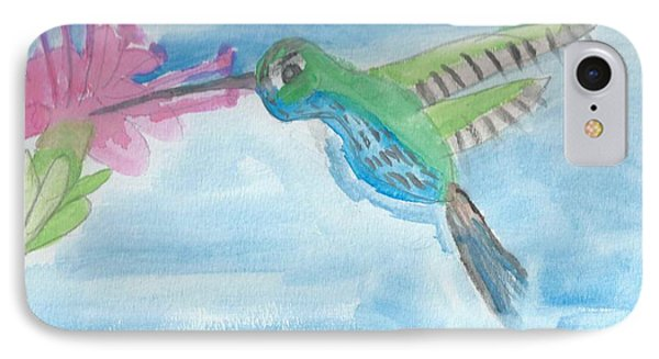 IPhone Case featuring the painting Flying Hummingbird  by Epic Luis Art