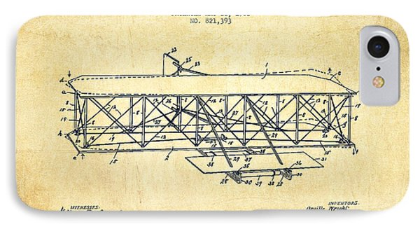 Airplane iPhone 8 Case - Flying Machine Patent Drawing From 1906 - Vintage by Aged Pixel